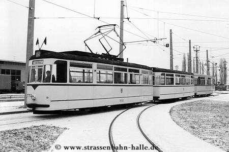 Historische straßenbahn in halle